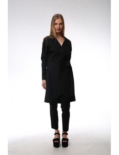 Black asymmetrical dress. Cotton Popeline.