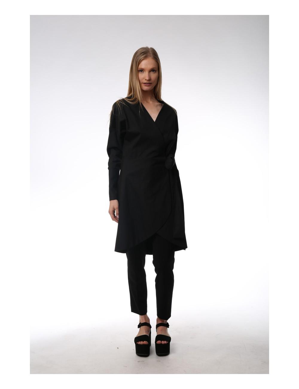 Black asymmetrical dress. Cotton Popeline.