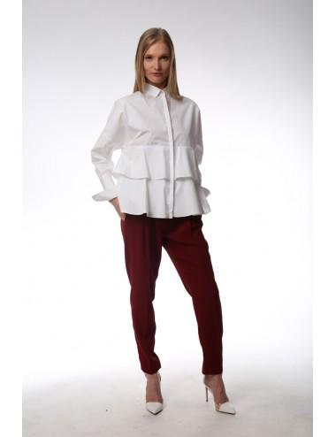 White shirt double ruches. Cotton Popeline.