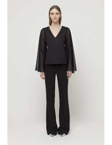 Bat chiffon sleeve neck shirt