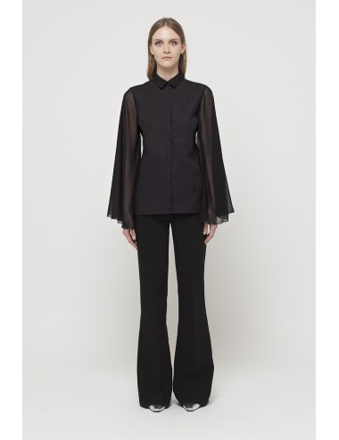 Bat chiffon sleeve with regular shirt collar
